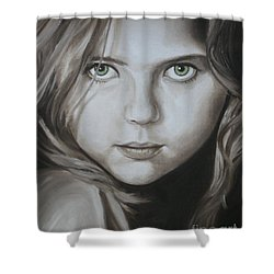 Little Girl With Green Eyes Shower Curtain by Jindra Noewi