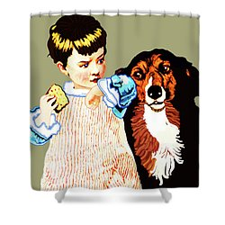 Shower Curtain featuring the painting Little Girl With Hungry Mutt by Marian Cates