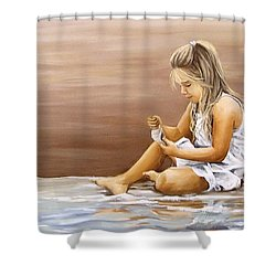 Shower Curtain featuring the painting Little Girl With Sea Shell by Natalia Tejera