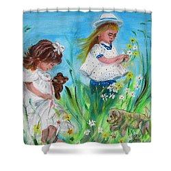 Little Girls Picking Flowers Shower Curtain