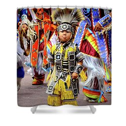 Little Grass Dancer Shower Curtain by Clarice Lakota