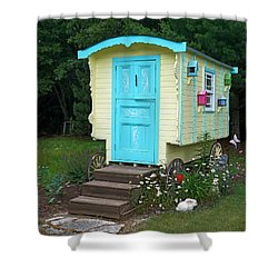Little Gypsy Wagon II Shower Curtain by Judy Johnson