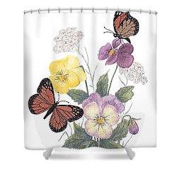 Little Heartsease Shower Curtain by Stanza Widen