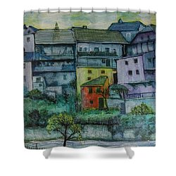 Shower Curtain featuring the painting River Homes by Ron Richard Baviello