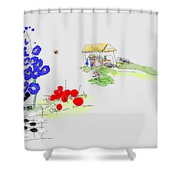 Little House And Garden Shower Curtain