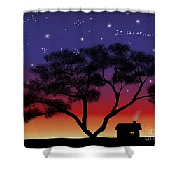 Little House At Sunset Shower Curtain