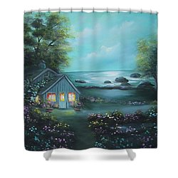 Little House By The Sea Shower Curtain