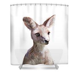 Little Kangaroo Shower Curtain by Amy Hamilton