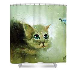 Little Kitty And Dragonfly Shower Curtain