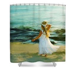 Little Lady At The Beach Shower Curtain