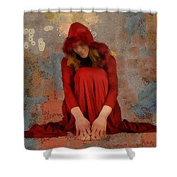 Shower Curtain featuring the mixed media Little Mel Riding Hood by Trish Tritz