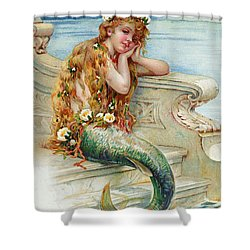 Little Mermaid Shower Curtain by E S Hardy