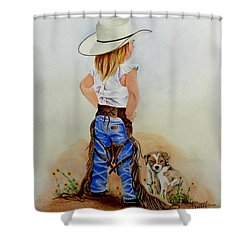 Little Miss Big Britches Shower Curtain by Jimmy Smith