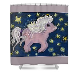 Little Pink Horse Shower Curtain by Rita Fetisov