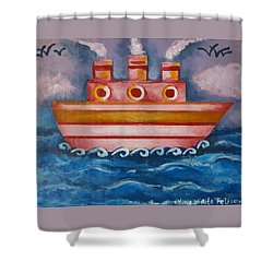 Little Pink Ship Shower Curtain by Rita Fetisov
