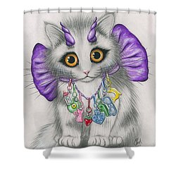 Shower Curtain featuring the mixed media Little Purple Horns - 1980s Cute Devil Kitten by Carrie Hawks