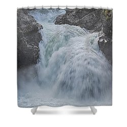 Little Qualicum Upper Falls Shower Curtain by Randy Hall