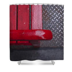 Little Red Bench Shower Curtain