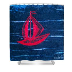 Shower Curtain featuring the painting Little Red Boat  by Jacqueline McReynolds