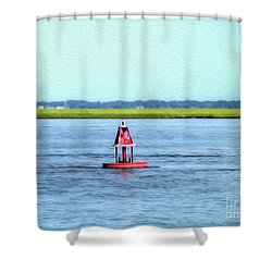 Little Red Buoy  Shower Curtain