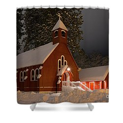 Little Red Church Shower Curtain