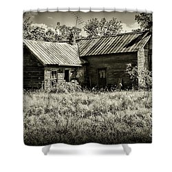 Little Red Farmhouse In Black And White Shower Curtain by Paul Ward