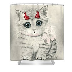 Shower Curtain featuring the drawing Little Red Horns - Cute Devil Kitten by Carrie Hawks