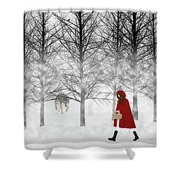Shower Curtain featuring the digital art Little Red by Nancy Levan