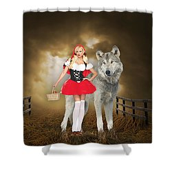 Shower Curtain featuring the mixed media Little Red Riding Hood And The Big Bad Wolf by Marvin Blaine