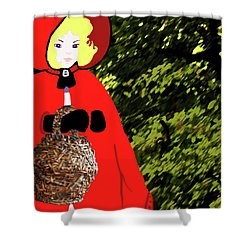 Little Red Riding Hood In The Forest Shower Curtain