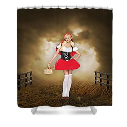 Shower Curtain featuring the mixed media Little Red Riding Hood by Marvin Blaine