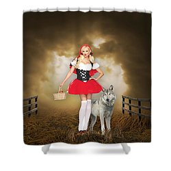 Shower Curtain featuring the mixed media Little Red Riging Hood And The Big Bad Wolf by Marvin Blaine