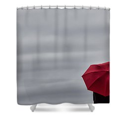 Little Red Umbrella In A Big Universe Shower Curtain