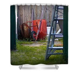 Little Red Wagon Shower Curtain by Tim Nichols