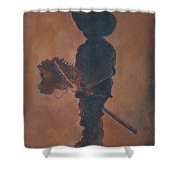 Shower Curtain featuring the painting Little Rider by Leslie Allen