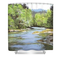Little River Morning Shower Curtain