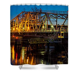 Little River Swing Bridge Shower Curtain by David Smith