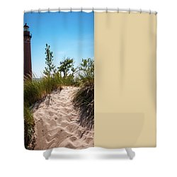 Shower Curtain featuring the photograph Little Sable Light Station - Film Scan by Larry Carr