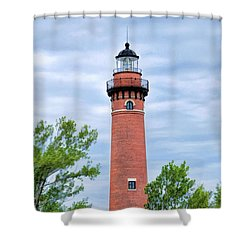 Shower Curtain featuring the painting Little Sable Lighthouse by Christopher Arndt