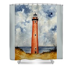 Little Sable Point Lighthouse Shower Curtain by Michael Vigliotti