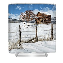 Little Shack In Winter Shower Curtain