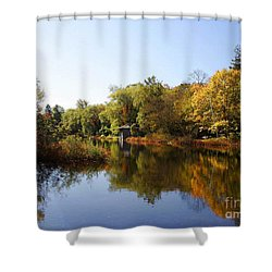 Little Shawme Pond In Sandwich Massachusetts Shower Curtain by Rod Jellison