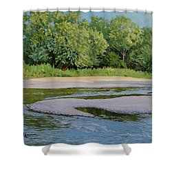 Little Sioux Sandbar Shower Curtain by Bruce Morrison
