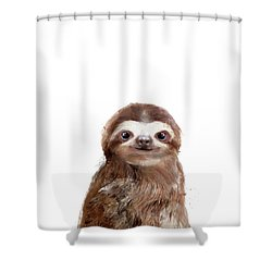 Little Sloth Shower Curtain by Amy Hamilton