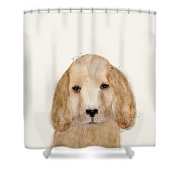 Shower Curtain featuring the painting Little Spaniel by Bri B