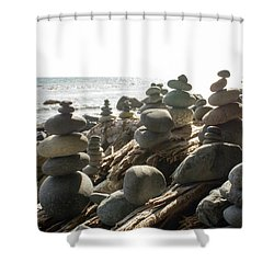 Little Stone Sculptures Shower Curtain