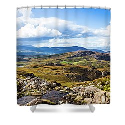 Shower Curtain featuring the photograph Little Stream Running Down The Macgillycuddy's Reeks by Semmick Photo