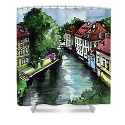 Shower Curtain featuring the painting Little Venice In Prague Certovka Canal by Dora Hathazi Mendes