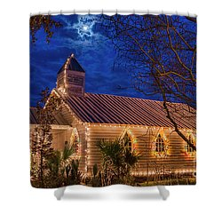Little Village Church With Star From Heaven Above The Steeple Shower Curtain by Bonnie Barry