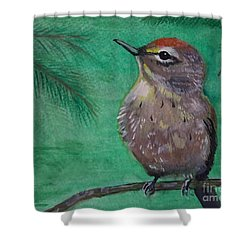 Shower Curtain featuring the painting Little Warbler by Leslie Allen